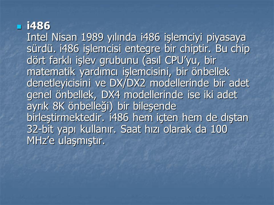 i486 Intel Nisan 1989 yılında i486 işlemciyi piyasaya sürdü