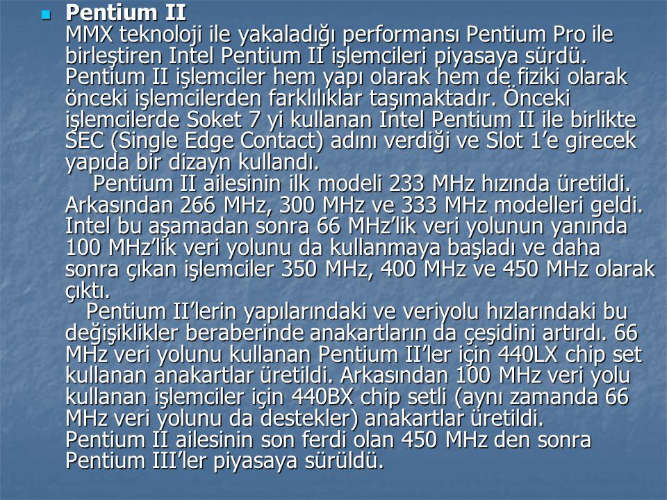 Pentium II MMX teknoloji ile yakaladığı performansı Pentium Pro ile birleştiren Intel Pentium II işlemcileri piyasaya sürdü.