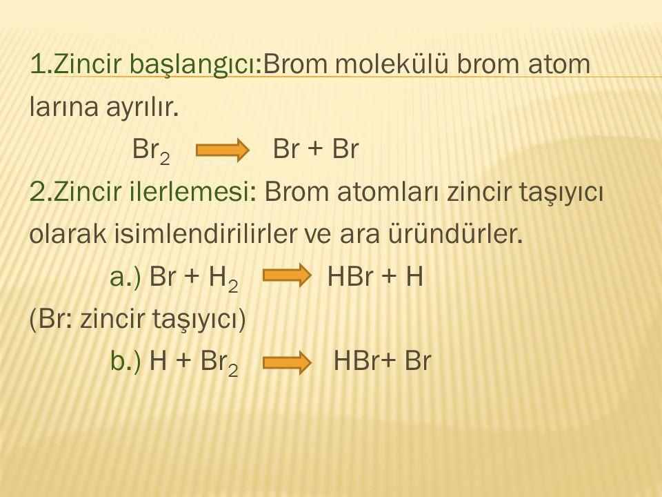 1. Zincir başlangıcı:Brom molekülü brom atom larına ayrılır