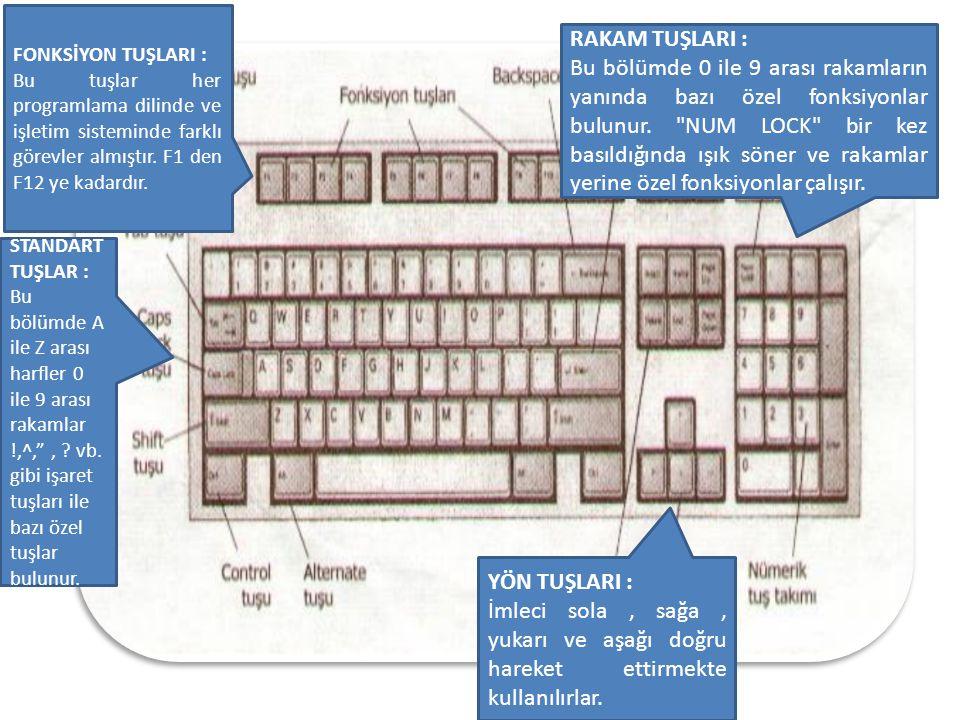 FONKSİYON TUŞLARI : Bu tuşlar her programlama dilinde ve işletim sisteminde farklı görevler almıştır. F1 den F12 ye kadardır.