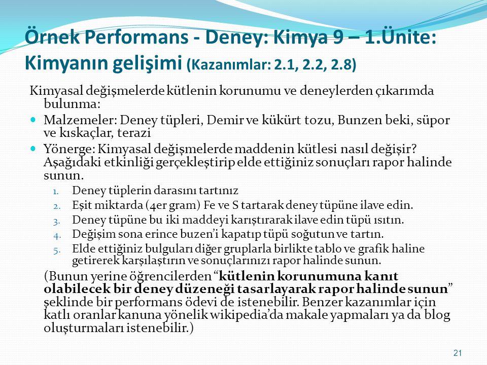 Örnek Performans - Deney: Kimya 9 – 1