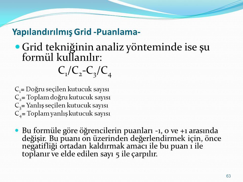 Yapılandırılmış Grid -Puanlama-