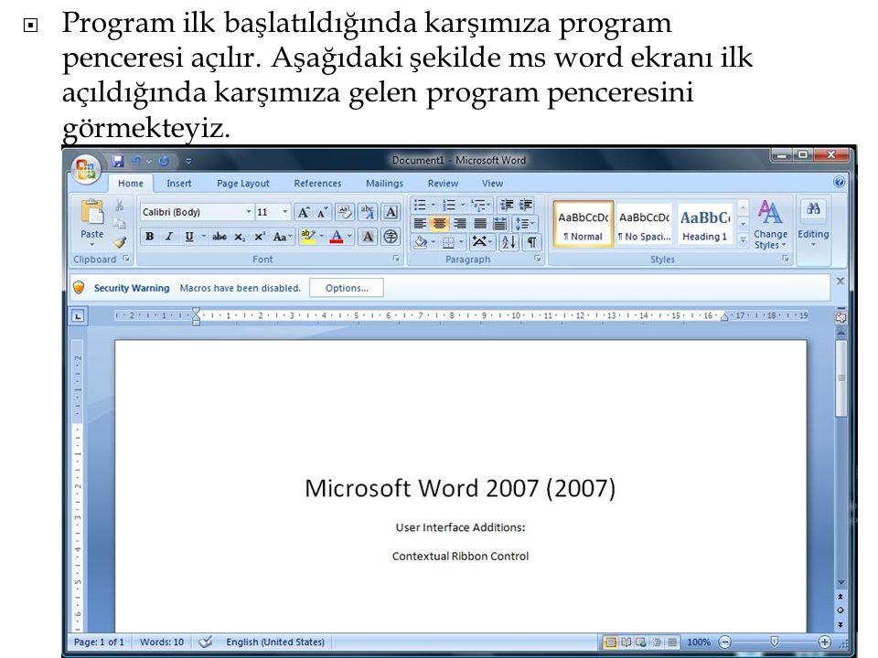Program ilk başlatıldığında karşımıza program penceresi açılır