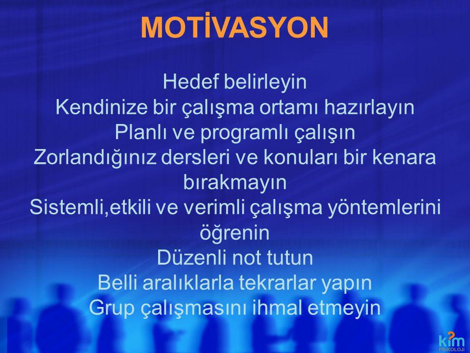 MOTİVASYON Hedef belirleyin Kendinize bir çalışma ortamı hazırlayın
