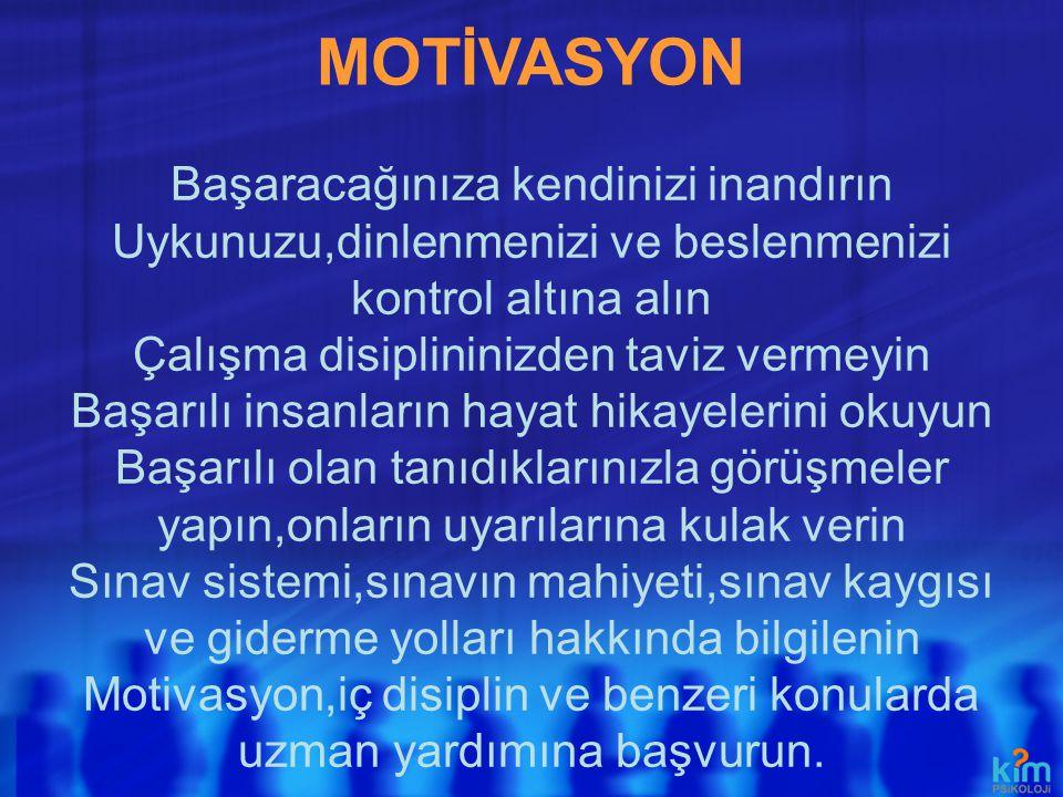 MOTİVASYON Başaracağınıza kendinizi inandırın
