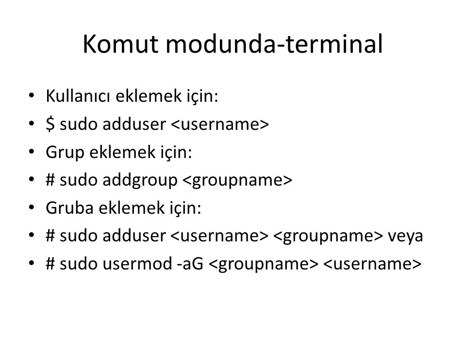 Komut modunda-terminal