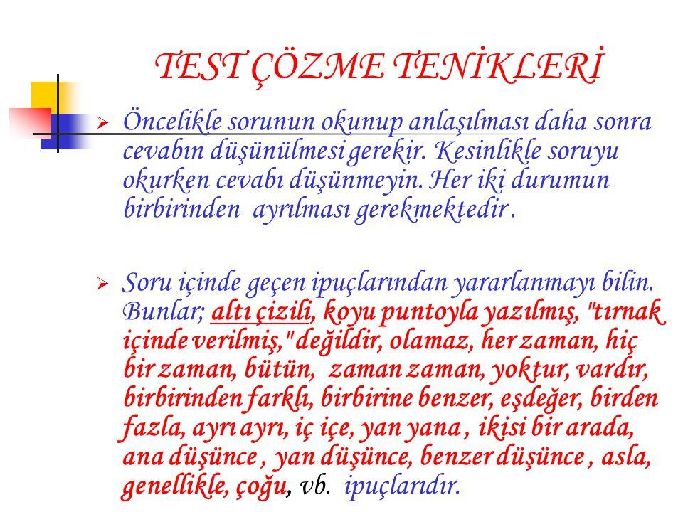 TEST ÇÖZME TENİKLERİ