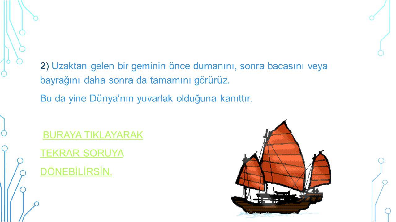 2) Uzaktan gelen bir geminin önce dumanını, sonra bacasını veya bayrağını daha sonra da tamamını görürüz.