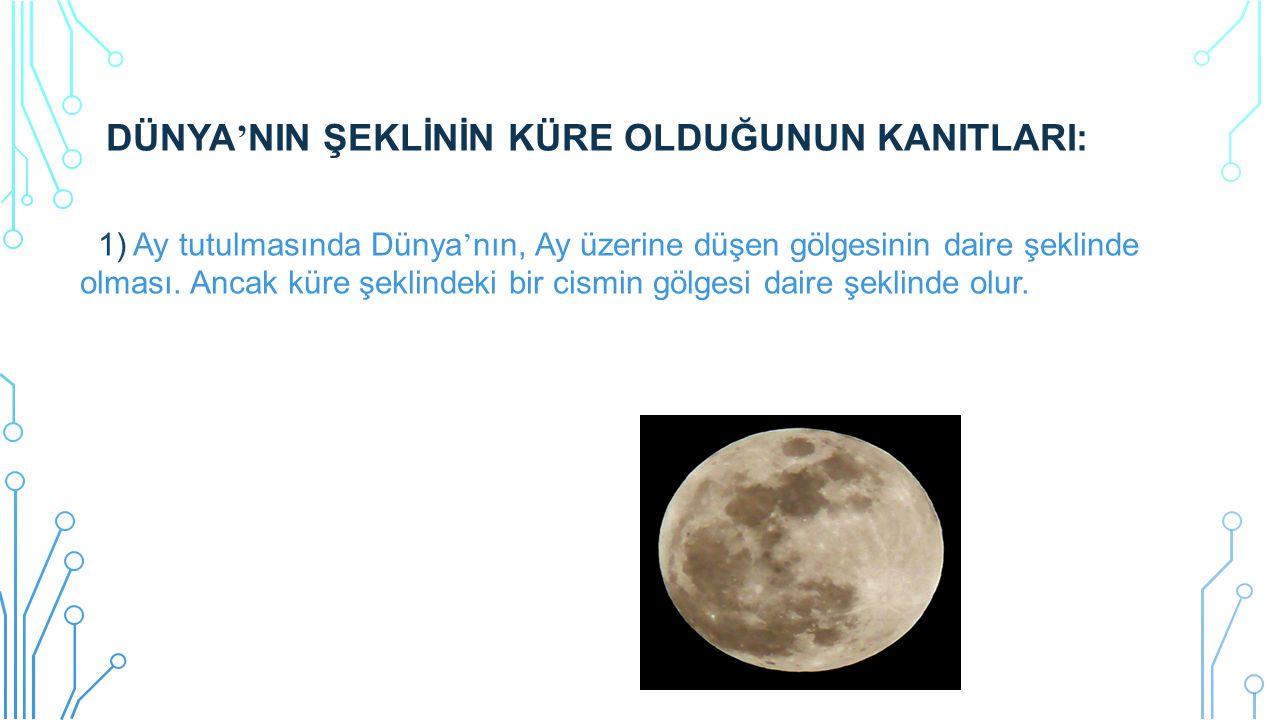 DÜNYA'NIN ŞEKLİNİN KÜRE OLDUĞUNUN KANITLARI: 1) Ay tutulmasında Dünya'nın, Ay üzerine düşen gölgesinin daire şeklinde olması.