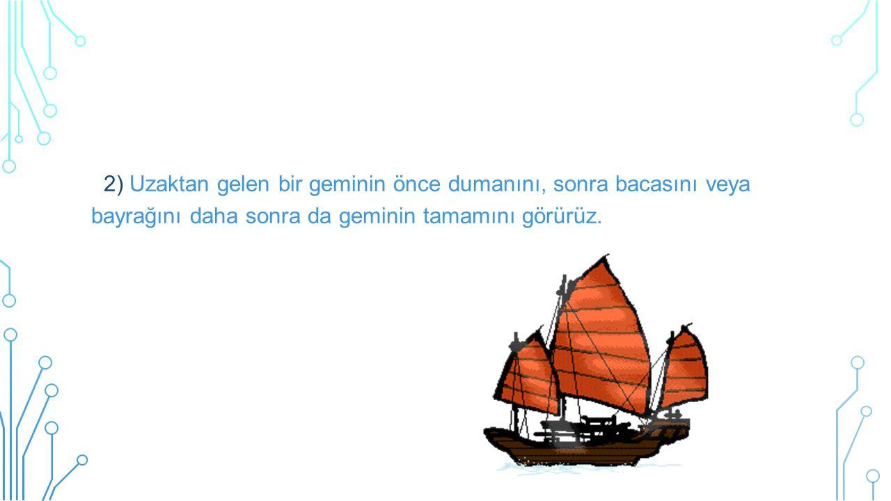 2) Uzaktan gelen bir geminin önce dumanını, sonra bacasını veya bayrağını daha sonra da geminin tamamını görürüz.