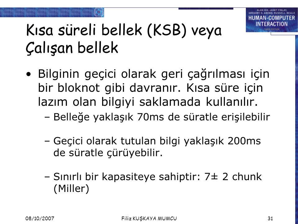 Kısa süreli bellek (KSB) veya Çalışan bellek
