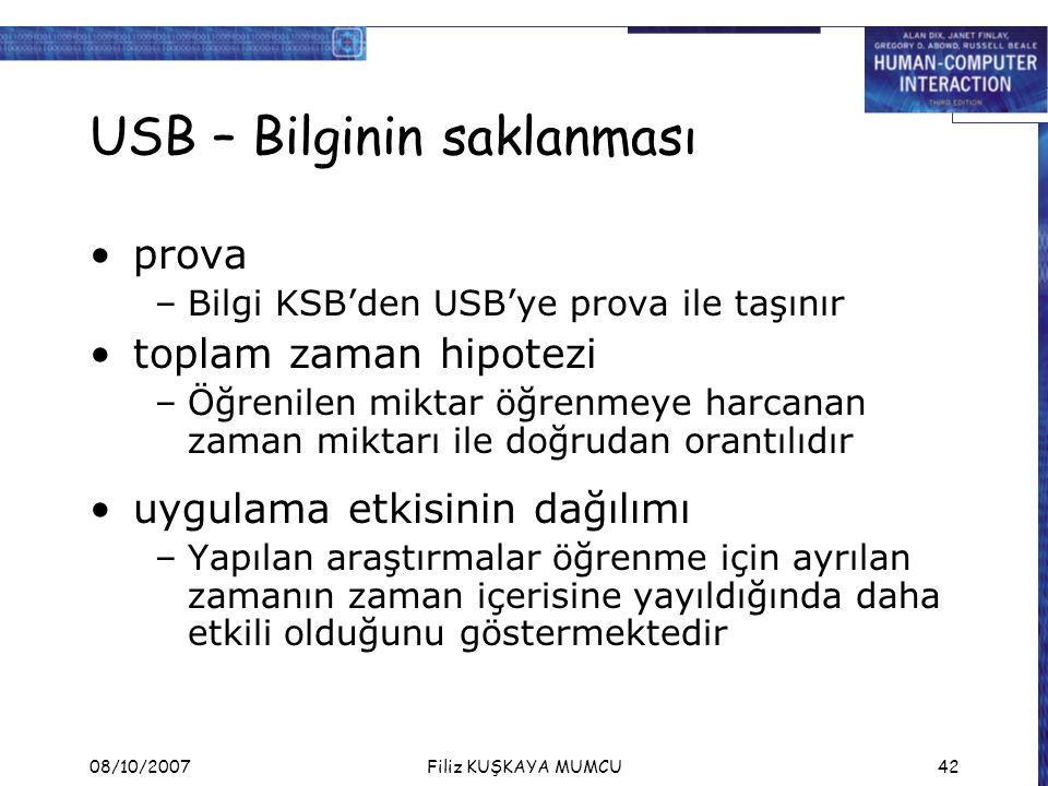 USB – Bilginin saklanması
