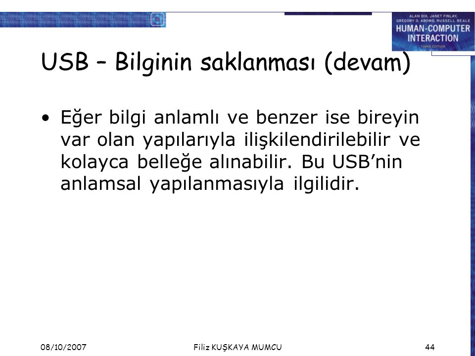 USB – Bilginin saklanması (devam)