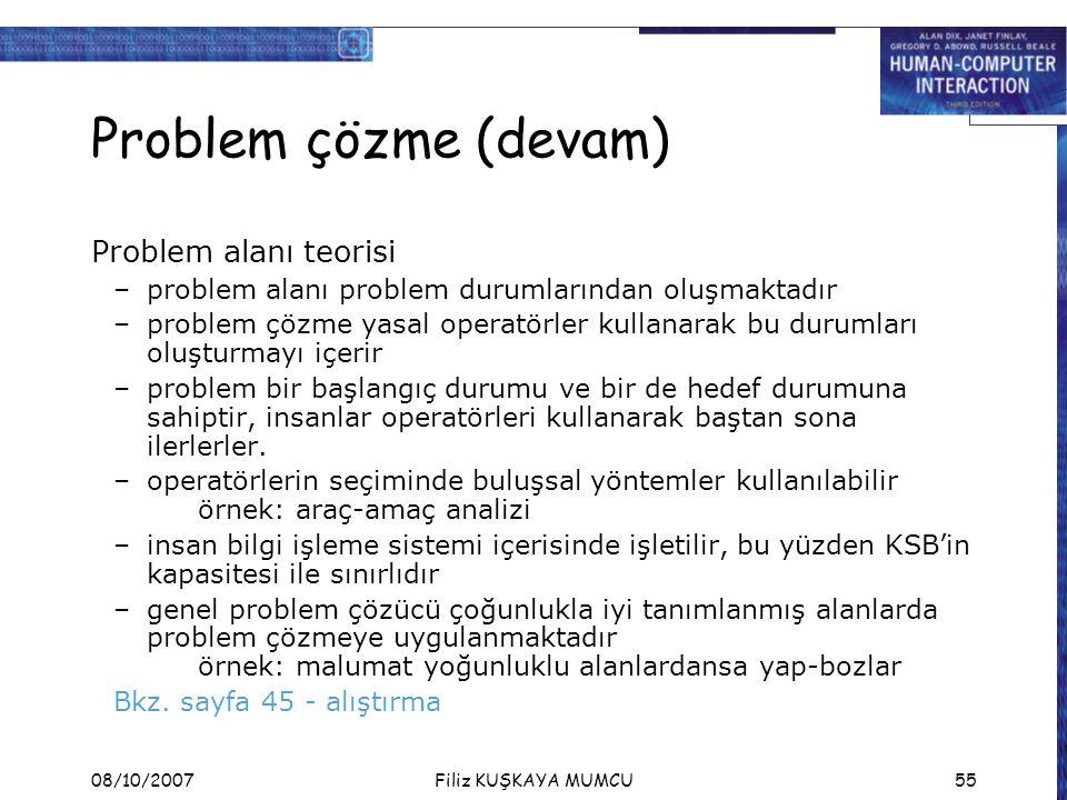 Problem çözme (devam) Problem alanı teorisi
