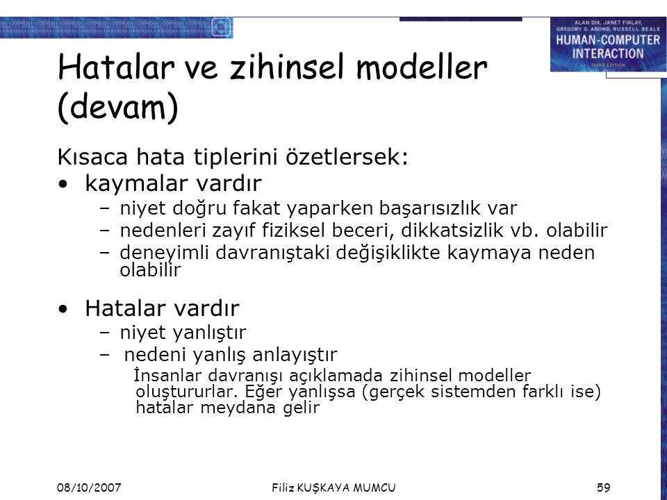 Hatalar ve zihinsel modeller (devam)