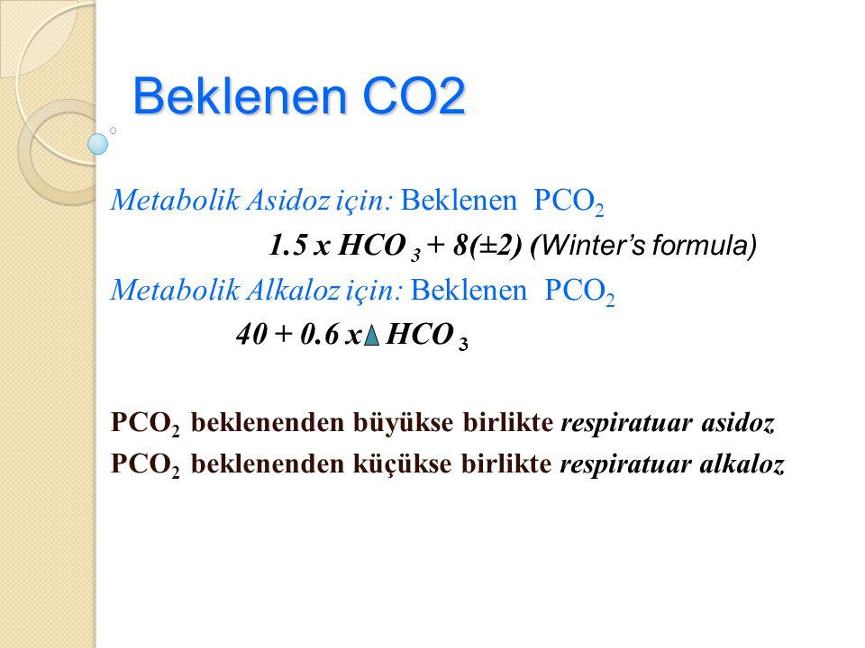Beklenen CO2 Metabolik Asidoz için: Beklenen PCO2
