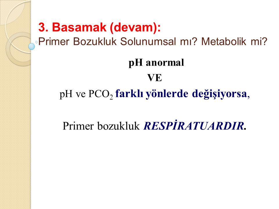 3. Basamak (devam): Primer Bozukluk Solunumsal mı Metabolik mi