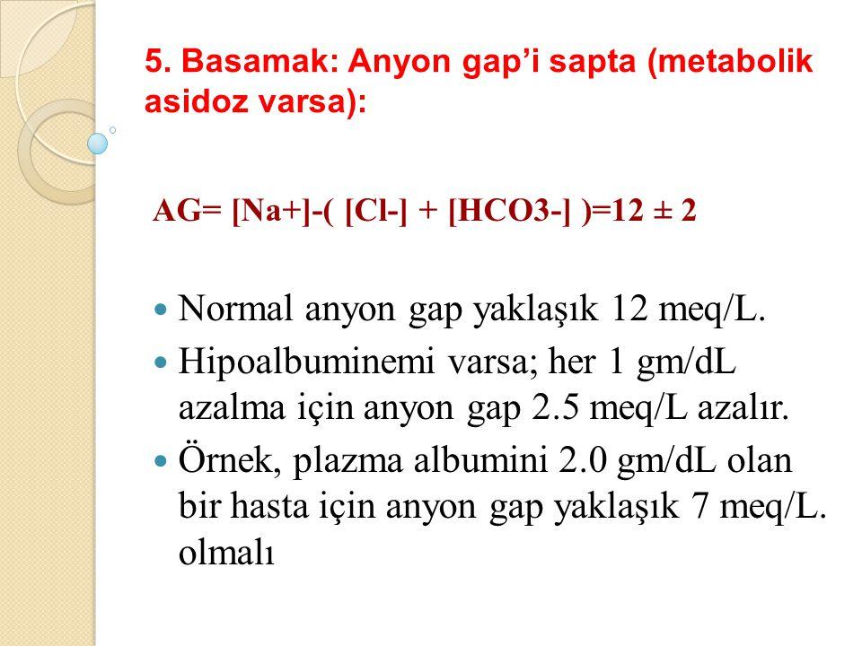 5. Basamak: Anyon gap'i sapta (metabolik asidoz varsa):