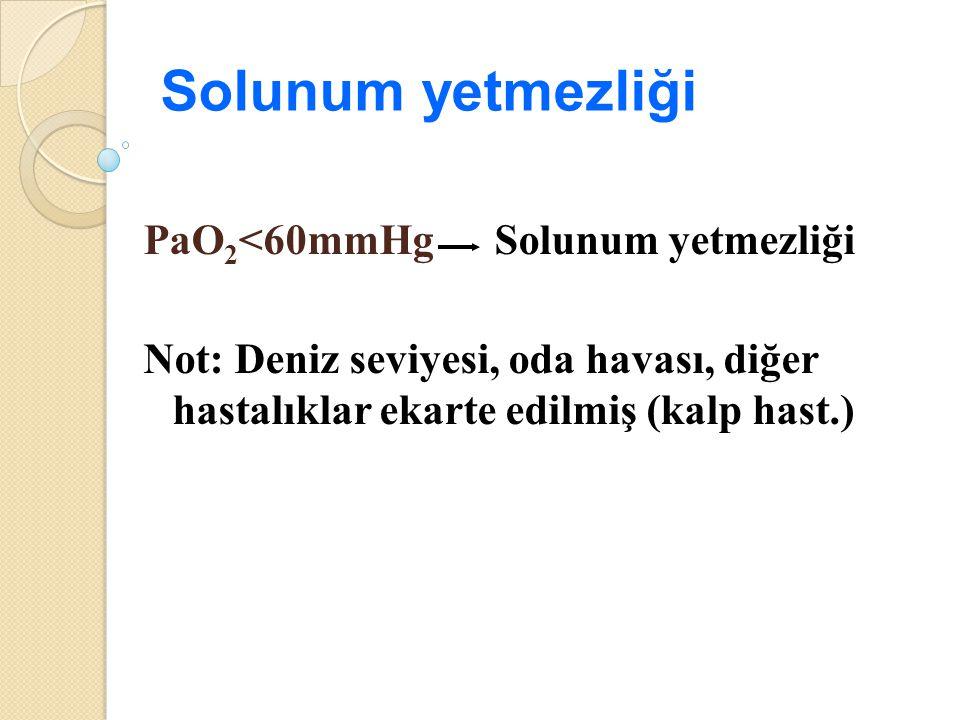 Solunum yetmezliği PaO2<60mmHg Solunum yetmezliği