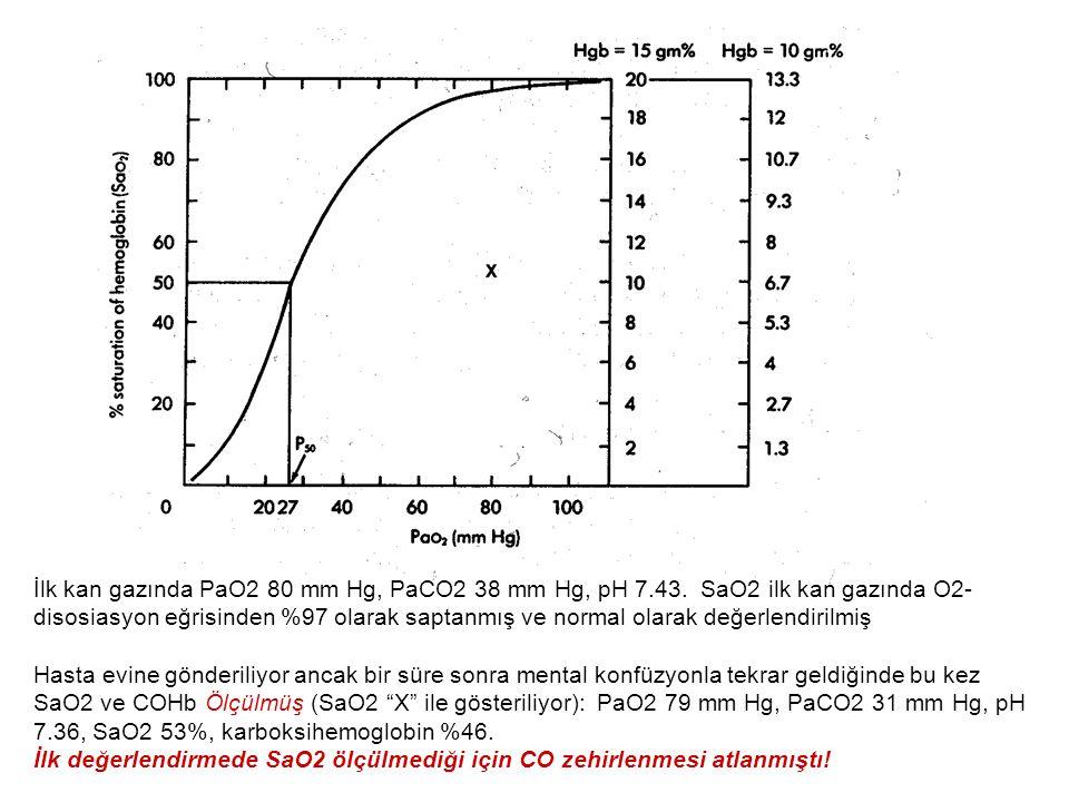 İlk kan gazında PaO2 80 mm Hg, PaCO2 38 mm Hg, pH 7. 43