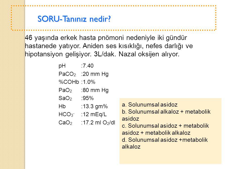 b. Solunumsal alkaloz + metabolik asidoz