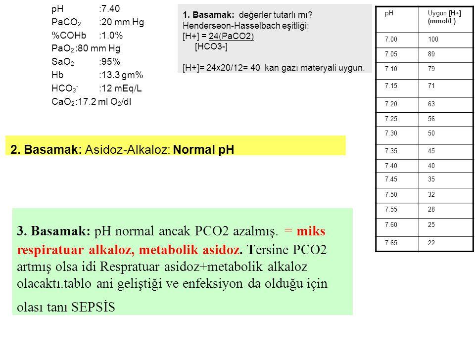 pH :7.40 PaCO2 :20 mm Hg. %COHb :1.0% PaO2 :80 mm Hg. SaO2 :95% Hb :13.3 gm% HCO3- :12 mEq/L.