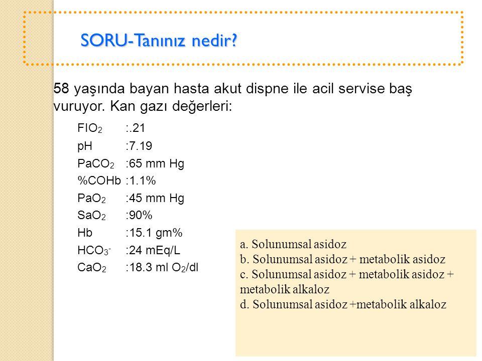 b. Solunumsal asidoz + metabolik asidoz