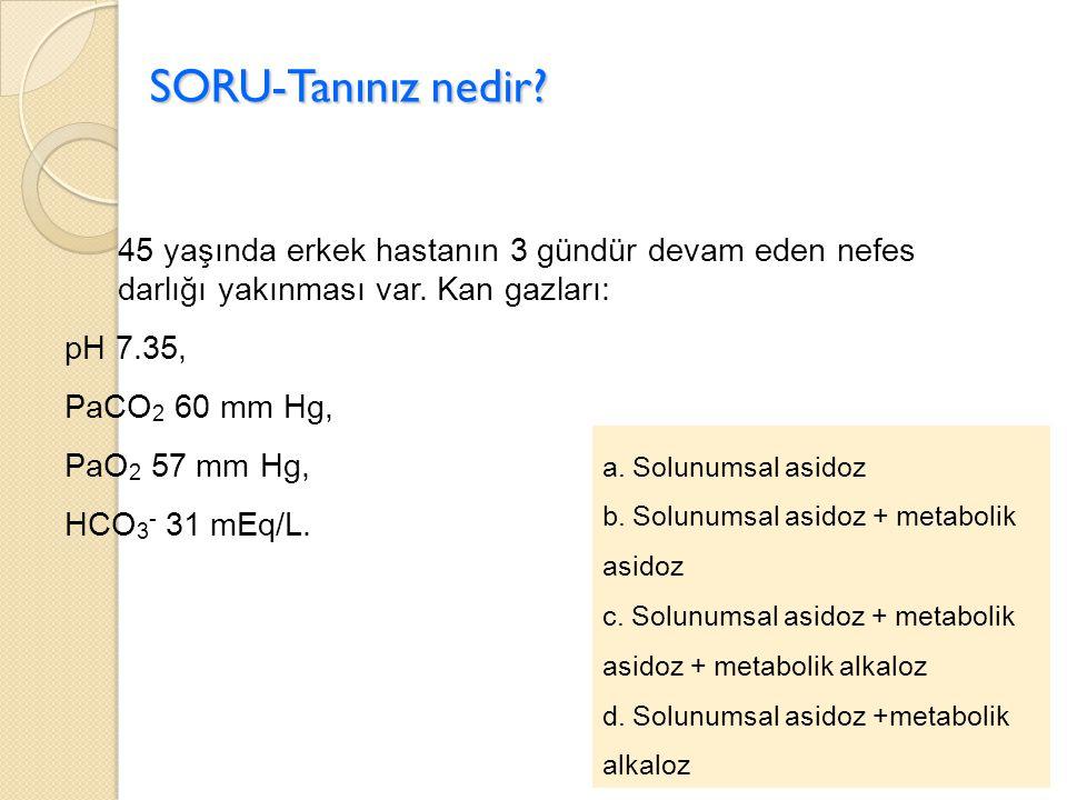 SORU-Tanınız nedir a. Solunumsal asidoz