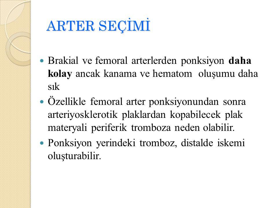 ARTER SEÇİMİ Brakial ve femoral arterlerden ponksiyon daha kolay ancak kanama ve hematom oluşumu daha sık.