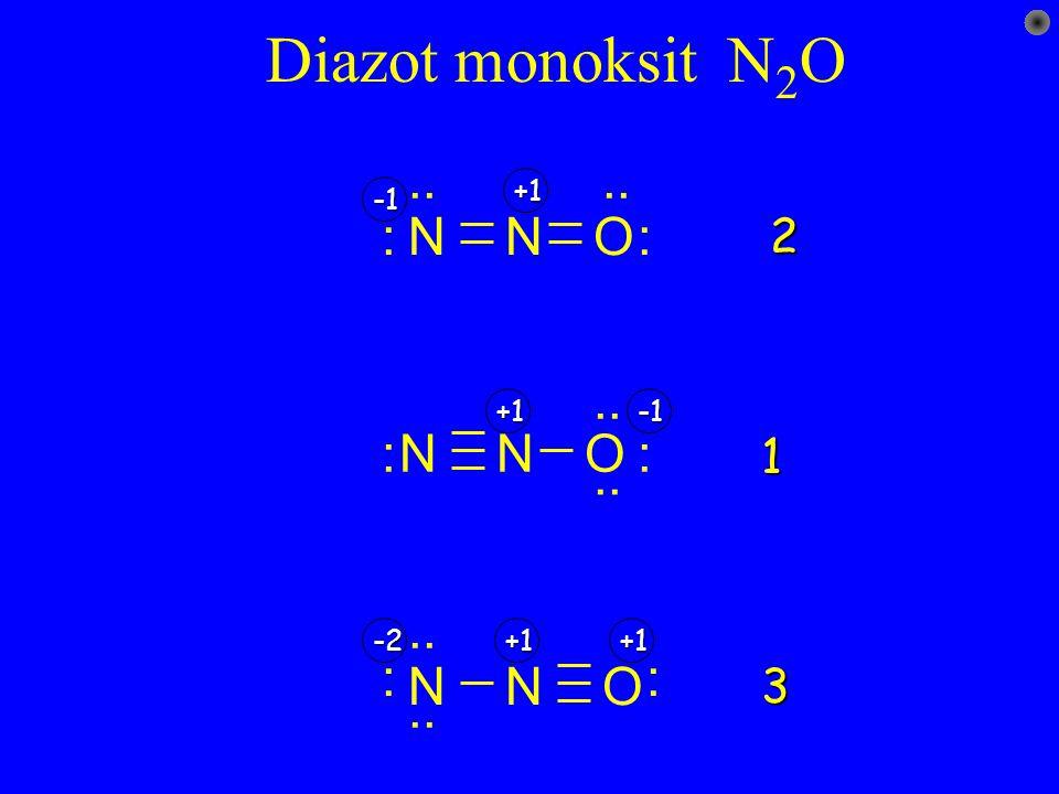 Diazot monoksit N2O N O : .. -1 +1 2 .. N O : -1 +1 1 N O : .. +1 -2 3