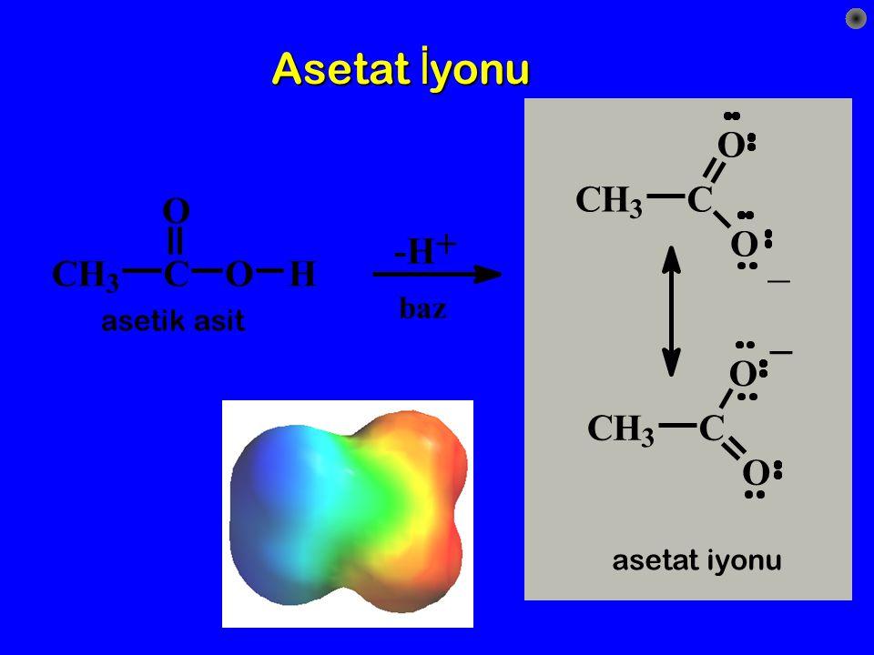 Asetat İyonu _ _ O C H C O + O -H C H C O H O C H C O baz asetik asit