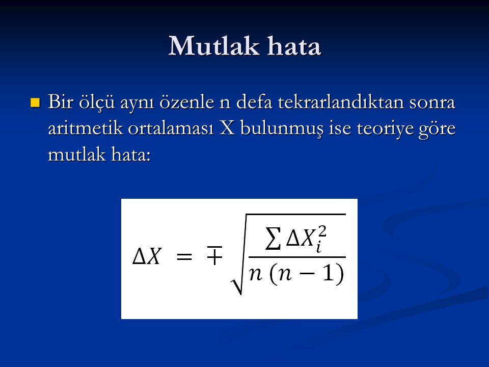 Mutlak hata Bir ölçü aynı özenle n defa tekrarlandıktan sonra aritmetik ortalaması X bulunmuş ise teoriye göre mutlak hata: