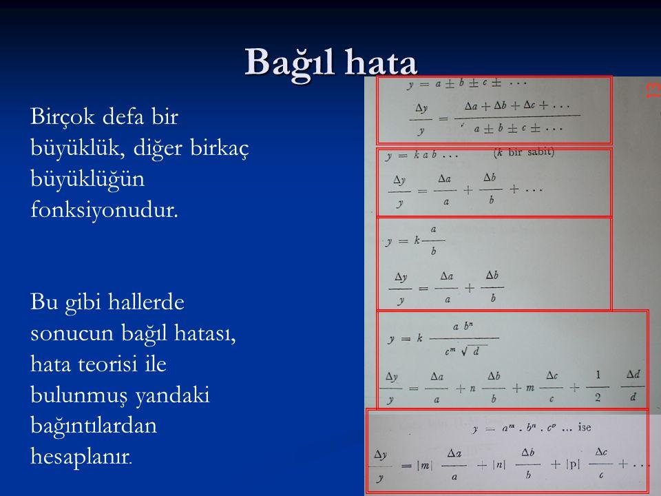 Bağıl hata Birçok defa bir büyüklük, diğer birkaç büyüklüğün fonksiyonudur.