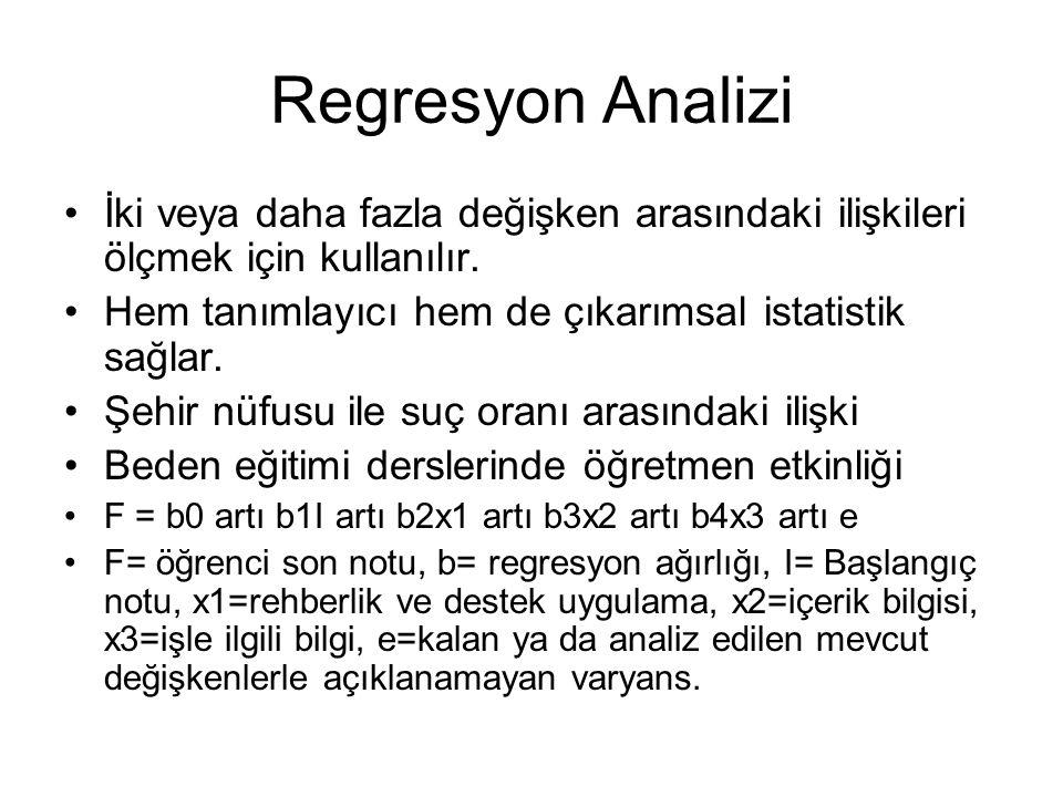 Regresyon Analizi İki veya daha fazla değişken arasındaki ilişkileri ölçmek için kullanılır. Hem tanımlayıcı hem de çıkarımsal istatistik sağlar.