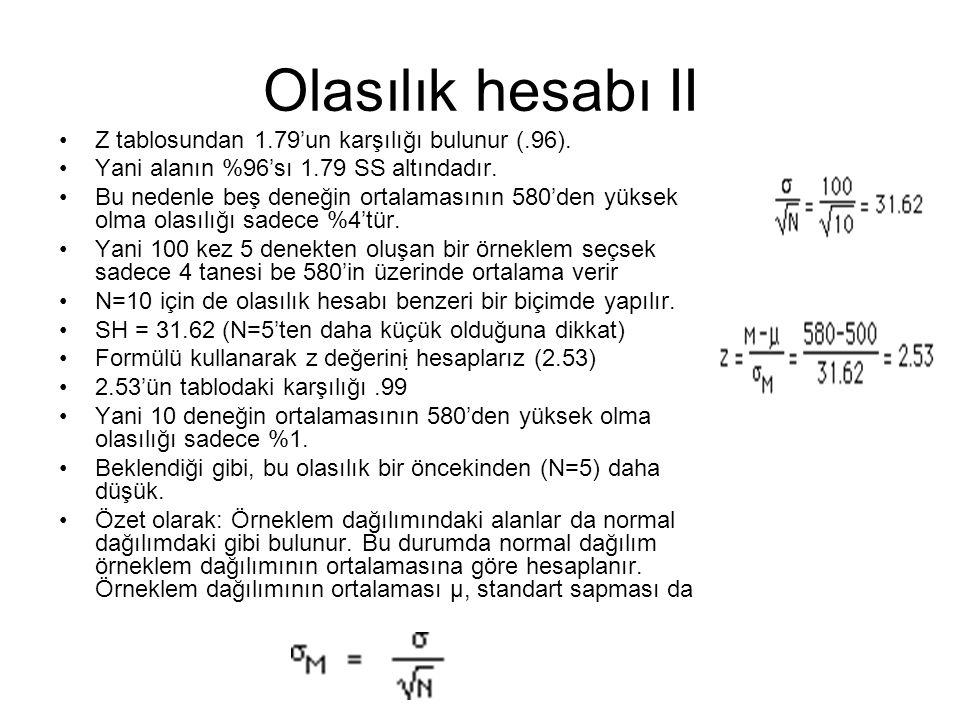 Olasılık hesabı II Z tablosundan 1.79'un karşılığı bulunur (.96).