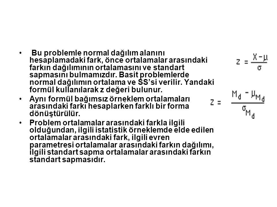 Bu problemle normal dağılım alanını hesaplamadaki fark, önce ortalamalar arasındaki farkın dağılımının ortalamasını ve standart sapmasını bulmamızdır. Basit problemlerde normal dağılımın ortalama ve SS'si verilir. Yandaki formül kullanılarak z değeri bulunur.