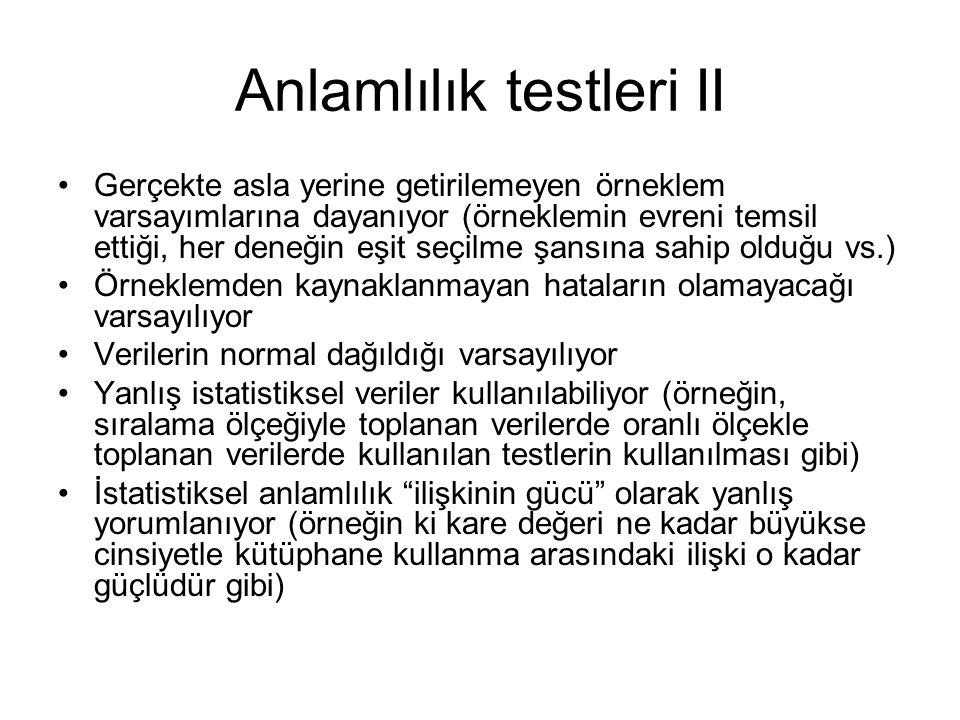 Anlamlılık testleri II
