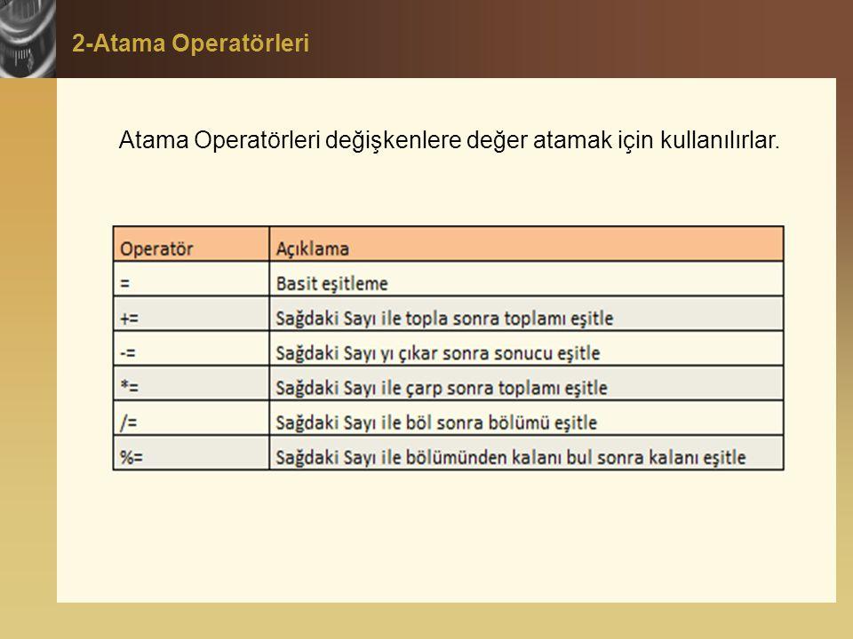 2-Atama Operatörleri Atama Operatörleri değişkenlere değer atamak için kullanılırlar.