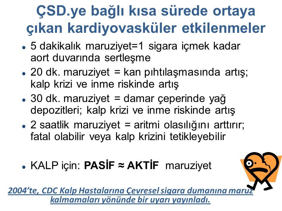 ÇSD.ye bağlı kısa sürede ortaya çıkan kardiyovasküler etkilenmeler