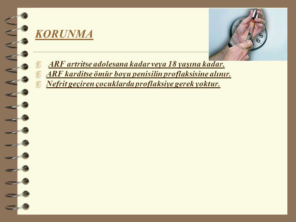KORUNMA ARF artritse adolesana kadar veya 18 yaşına kadar.