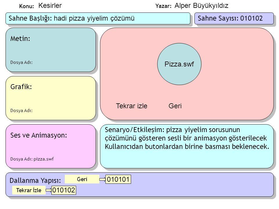 Sahne Başlığı: hadi pizza yiyelim çözümü Sahne Sayısı: 010102