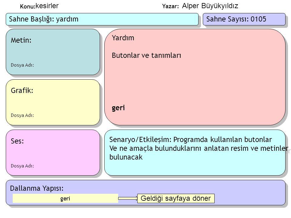 Senaryo/Etkileşim: Programda kullanılan butonlar