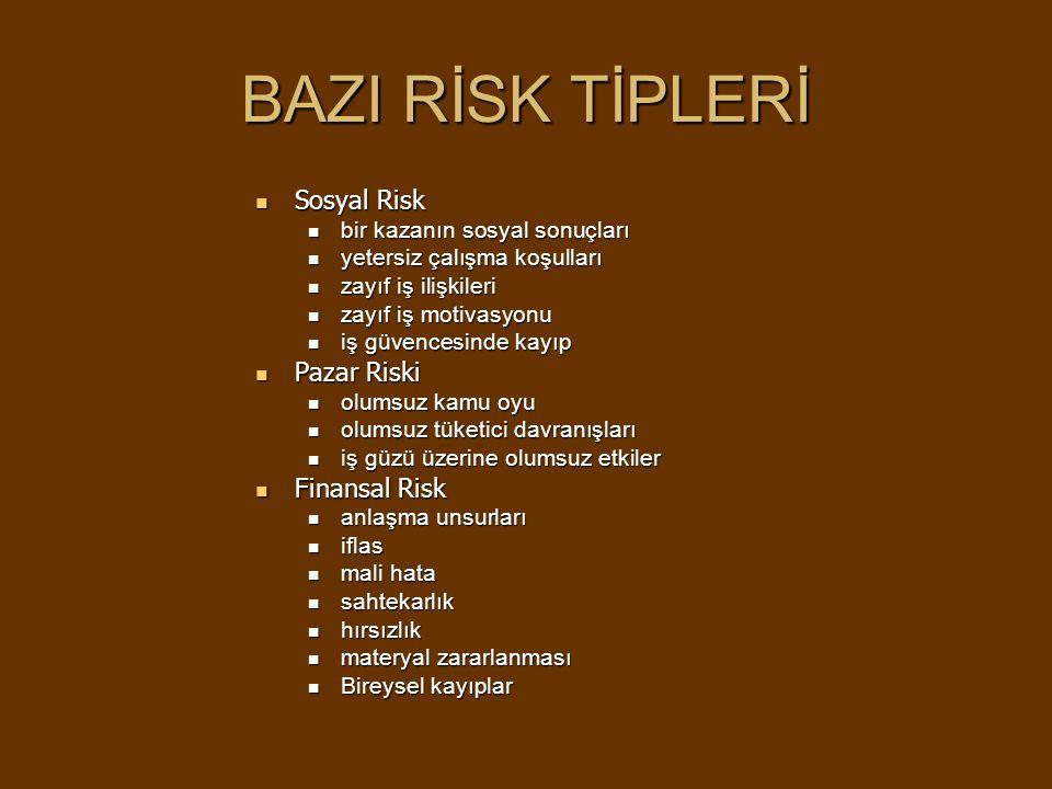 BAZI RİSK TİPLERİ Sosyal Risk Pazar Riski Finansal Risk