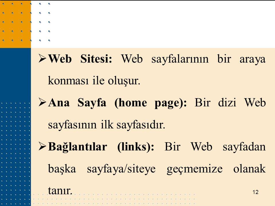 Web Sitesi: Web sayfalarının bir araya konması ile oluşur.