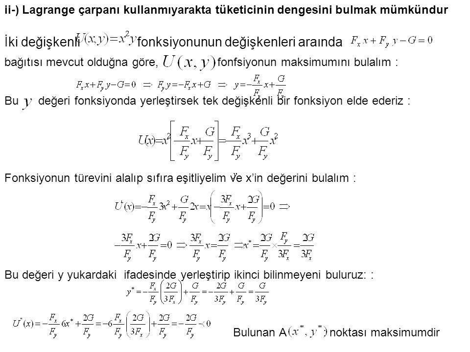 İki değişkenli fonksiyonunun değişkenleri araında