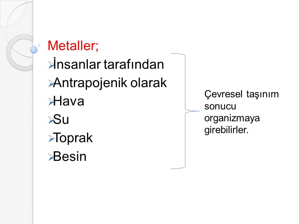 Metaller; İnsanlar tarafından Antrapojenik olarak Hava Su Toprak Besin