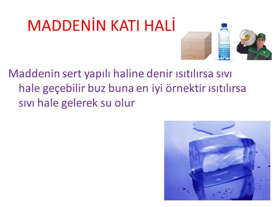 MADDENİN KATI HALİ Maddenin sert yapılı haline denir ısıtılırsa sıvı hale geçebilir buz buna en iyi örnektir ısıtılırsa sıvı hale gelerek su olur.