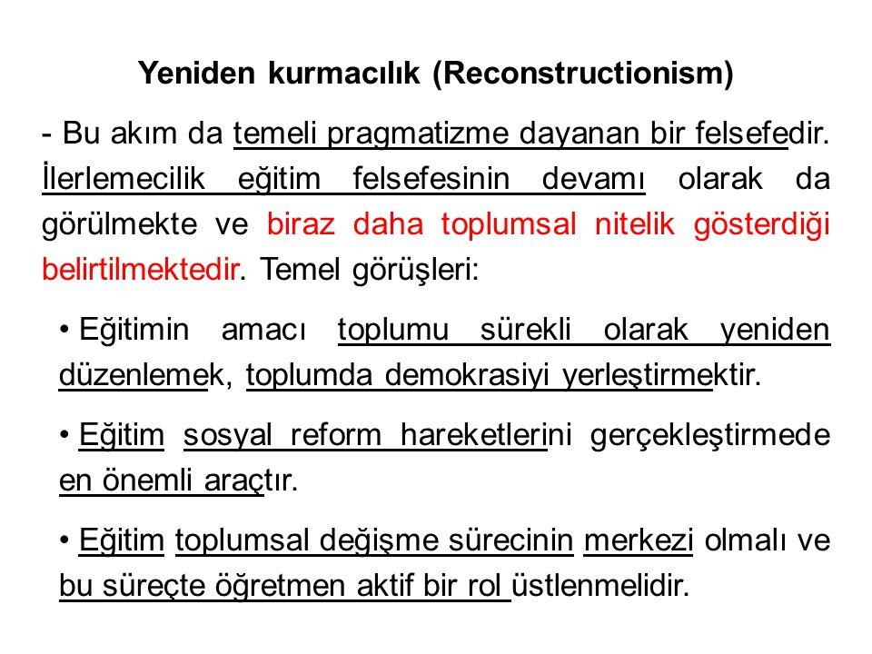 Yeniden kurmacılık (Reconstructionism)