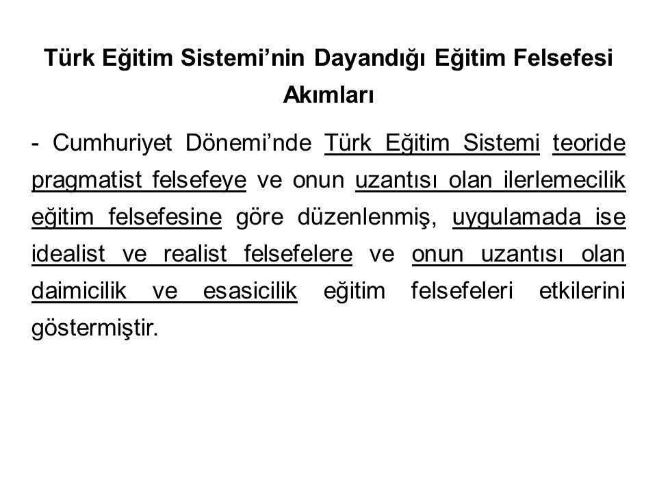 Türk Eğitim Sistemi'nin Dayandığı Eğitim Felsefesi Akımları