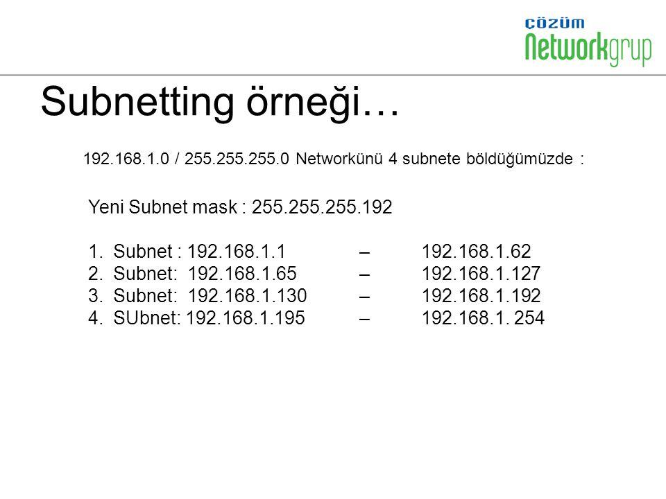 Subnetting örneği… Yeni Subnet mask : 255.255.255.192